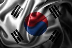 Bandera de seda del satén de la Corea del Sur ilustración del vector