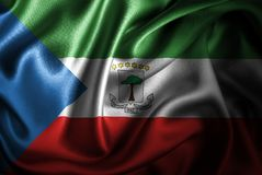 Bandera de seda del satén de la Guinea Ecuatorial stock de ilustración