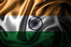 Bandera de seda del satén de la India stock de ilustración