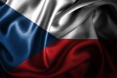 Bandera de seda del satén de la República Checa ilustración del vector