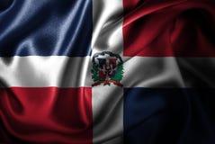 Bandera de seda del satén de la República Dominicana stock de ilustración