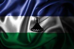 Bandera de seda del satén de Lesotho stock de ilustración