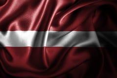 Bandera de seda del satén de Letonia libre illustration