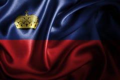 Bandera de seda del satén de Liechtenstein stock de ilustración