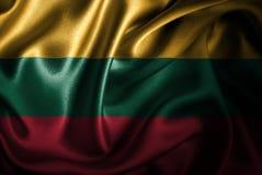 Bandera de seda del satén de Lituania stock de ilustración
