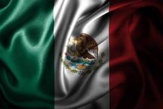 Bandera de seda del satén de México stock de ilustración