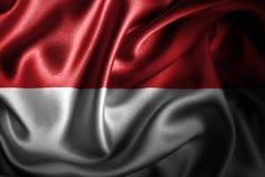 Bandera de seda del satén de Mónaco stock de ilustración
