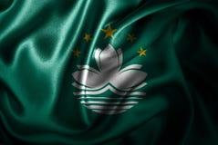 Bandera de seda del satén de Macao ilustración del vector