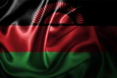 Bandera de seda del satén de Malawi ilustración del vector
