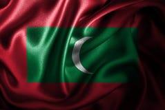 Bandera de seda del satén de Maldivas stock de ilustración
