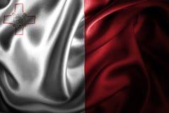 Bandera de seda del satén de Malta stock de ilustración
