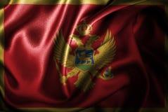 Bandera de seda del satén de Montenegro stock de ilustración