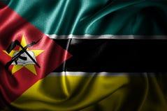 Bandera de seda del satén de Mozambique ilustración del vector