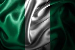 Bandera de seda del satén de Nigeria ilustración del vector