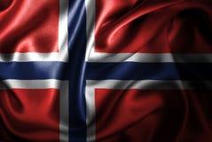 Bandera de seda del satén de Noruega stock de ilustración