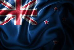 Bandera de seda del satén de Nueva Zelanda stock de ilustración