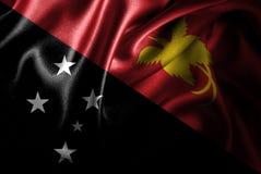 Bandera de seda del satén de Papúa Nueva Guinea ilustración del vector