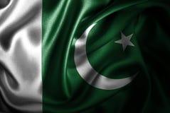 Bandera de seda del satén de Paquistán ilustración del vector