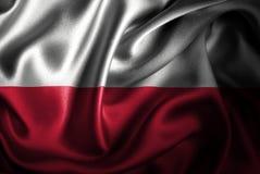 Bandera de seda del satén de Polonia stock de ilustración