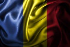Bandera de seda del satén de Rumania stock de ilustración