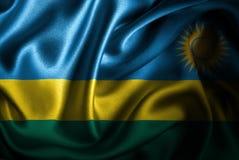 Bandera de seda del satén de Rwanda ilustración del vector
