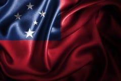 Bandera de seda del satén de Samoa stock de ilustración