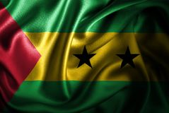 Bandera de seda del satén de Sao Tome and Principe stock de ilustración