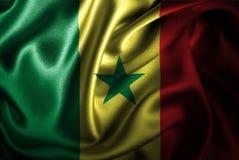 Bandera de seda del satén de Senegal stock de ilustración