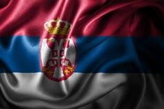 Bandera de seda del satén de Serbia ilustración del vector