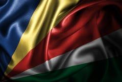Bandera de seda del satén de Seychelles ilustración del vector