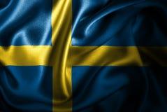 Bandera de seda del satén de Suecia stock de ilustración