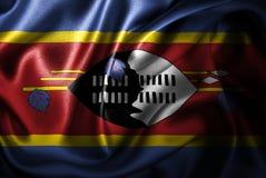 Bandera de seda del satén de Swazilandia stock de ilustración