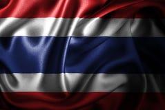 Bandera de seda del satén de Tailandia ilustración del vector