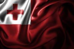 Bandera de seda del satén de Tonga ilustración del vector