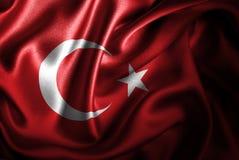 Bandera de seda del satén de Turquía ilustración del vector