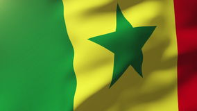 Bandera de Senegal que agita en el viento Subidas de colocación del sol stock de ilustración