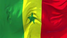 238 Bandera de Senegal que agita en fondo inconsútil continuo del lazo del viento ilustración del vector