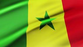Bandera de Senegal que agita en fondo realista de la bandera de Senegal de las imágenes de vídeo del viento Primer de colocación  ilustración del vector