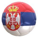Bandera de Serbia en una bola del fútbol Fotos de archivo libres de regalías