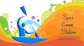 Bandera de Sport Competition Colorful del atleta del eslalom de la canoa Fotografía de archivo libre de regalías