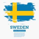 Bandera de Suecia con los movimientos del cepillo ilustración del vector