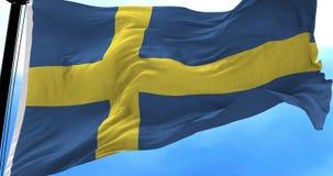 Bandera de Suecia en el viento almacen de metraje de vídeo