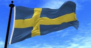 Bandera de Suecia en el viento stock de ilustración