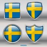 Bandera de Suecia en la colección de 4 formas con la trayectoria de recortes Fotos de archivo