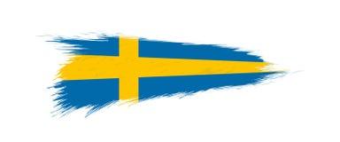 Bandera de Suecia en movimiento del cepillo del grunge libre illustration