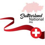 Bandera de Suiza, día nacional suizo feliz - vector stock de ilustración