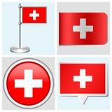 Bandera de Suiza - el sistema de la etiqueta engomada, botón, etiqueta a Imágenes de archivo libres de regalías
