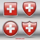 Bandera de Suiza en la colección de 4 formas con la trayectoria de recortes Fotos de archivo