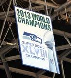 Bandera 2013 de Superbowl de los Seattle Seahawks Imagenes de archivo