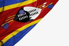 Bandera de Swazilandia de la tela con el copyspace para su texto en el fondo blanco stock de ilustración